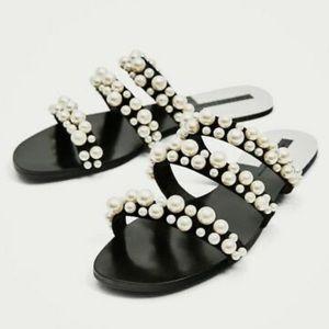 Zara Pearl Black Strappy Flat Sandal Slides 39